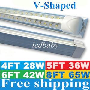 V 형 4 피트 5 피트 6 피트 8 피트 쿨러 도어 Led 조명 튜브 T8 통합 Led 튜브 더블 사이드 SMD2835 Led 형광등 AC 85-265V