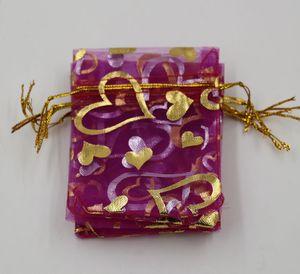 الحار ! 100 قطع مجوهرات التعبئة روز الأحمر القلب الأورجانزا الحقيبة الزفاف الإحسان أكياس هدية 7x9 سنتيمتر / 9x12 سنتيمتر / 13x18 سنتيمتر