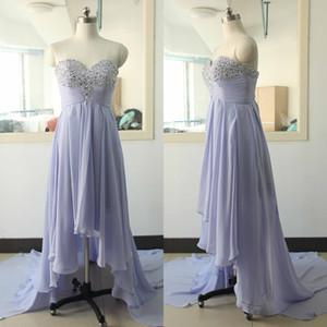Лаванда высокий низкий вечерние платья 2016 милая Ruched бисероплетение линия шифон складки горячая партия вечернее платье на заказ