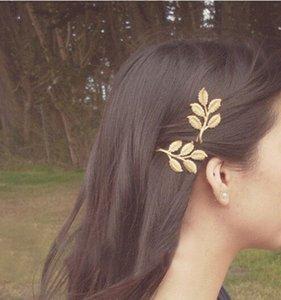 Großhandels12pcs arbeiten Metallgold überzogene Blatt-Blätter Hairclips Haar-Pin-Charme Hairwear Zubehör-Brautschmucksachen um