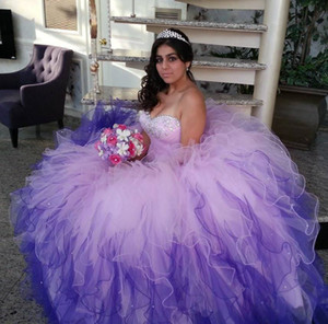 Pink Purple Quinceanera Dresses Ball Gown Floor Length Sweetheart Beaded Crystal Lace Up Cascading ruffles Sparking sweet 16 Prom Gowns 2015