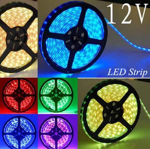 Süper Hafif 3528 SMD Su Geçirmez 60 LEDs / M 300 LEDs Sıcak Soğuk Beyaz Kırmızı Yeşil Mavi Sarı RGB 5 M / Rulo RGB Esnek LED Şerit Işık 12 V