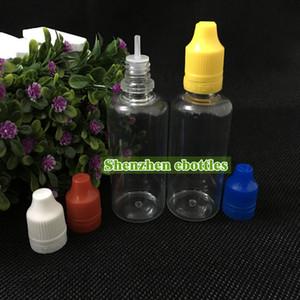 Botellas al Por Mayor de 50 ml de líquido botella vacía botellas de plástico PET cuentagotas E con aguja fina larga de Consejos Sello de Seguridad Caps sello a prueba de niños y