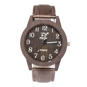 5pcs Hot gwatches di legno per le donne degli uomini in pelle Vintage quarzo legno orologio con sveglia Nuovo cuoio genuino orologi cinturino da polso