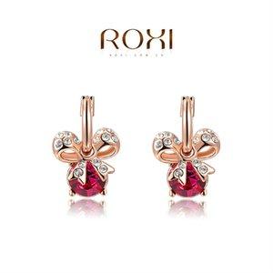 015 ROXI Cadeau De Noël Bijoux De Mode Rose Plaqué Or Déclaration Bowknot Rouge Pierre Boucles D'oreilles Pendantes Partie De Mariage Livraison Gratuite