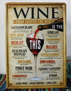Atacado-Retro Metal Poster Tin Sign Wine para Home Bar Pub decoração da parede do vintage, 30x20cm