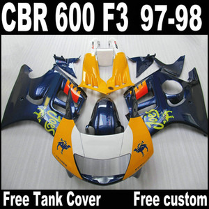 Free 7 gifts bodywork fairings for HONDA CBR600 F3 1997 1998 CBR 600 97 98 blue orange plastic fairing kit QY32