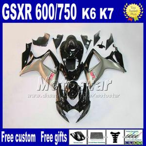High quality fairing kit for GSXR 600 750 2006 2007 SUZUKI GSX-R600 GSX-R750 06 07 K6 silver black customize fairings sets FS82