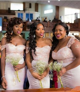 2018 Plus Size Blush Pink Bridesmaids Dresses Off The Shoulder Wedding Guest Dress Mermaid Maid Of Honor Gowns