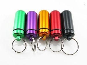 DHL 페덱스 무료 배송 방수 키 체인 라운드 알루미늄 알 약 병 케이스 여행 알로 약 상자 100pcs / lot 열쇠 고리