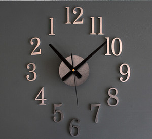 عكس ساعة الظهر المعدنية صحيح 3D ستيريو DIY ساعة الحائط الإبداعية الأزياء والساعات جرس الانعكاس