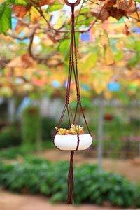 FDS декоративные ручной вязки нейлон завод вешалка цветочный горшок держатель висит корзина веревки с макраме для садоводства использовать 5 цветов вариант