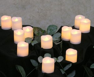 차 빛 12 개 화염 Led 촛불 깜박임 램프 장식 전기 촛불 노란색 차 파티 웨딩 촛불