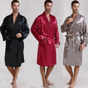 Wholesale-Mens Silk Satin Pyjamas Pyjama Pyjamas PJS Nachtwäsche Robe Robe Nachthemd Lounge tragen S ~ 3XL Plus Schwarz