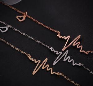 EKG Charme Collier Électrocardiogramme Pendentif Heartbeat Coeur Rythme ECG Chine Bijoux En Gros ECG Bijoux Valentine Day Cadeau