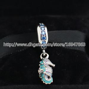 100% S925 Sterling Silver Seahorse tropicale ciondola il branello di fascino con lo smalto adatto per gioielli stile europeo pandora bracciali collane ciondolo