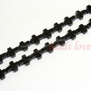 """1Strand 16 """"(25pcs) 자연석""""Black Agate """"크로스 루스 비즈 12mm * 17mm (w03003) 무료 배송"""