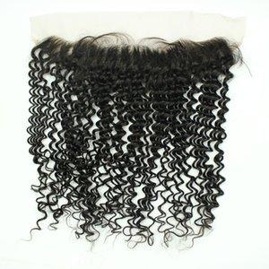 레이스 정면 폐쇄 브라질 킨키 컬리 2 * 13 귀에 귀에 레이스 정면 인간의 머리카락 확장 레이스 클로저 무료 배송