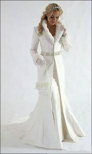 2019 Winter Wram Bridal Wedding Wraps Beaded Sash Bridal Hooded Cloak Long Sweep Satin Vestidos De Novia