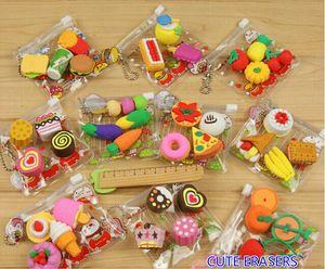 Gratis EMS DHL 100 Sets (100 Paquetes) Mixed Fresh Fruit Eraser Food Cake Eraser Cartoon Animal Rubber Lápiz Borrador Con Agradable Bolso Regalo de Navidad