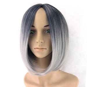 hanzi_beauty Omber Perruque Gris Perruque Noir À Gris Court Femmes Perruques De Cheveux Synthétique Résistant À La Chaleur Cheveux Perruque Cosplay