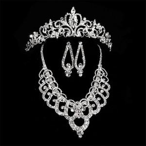 Diamant De Mariée Couronnes Accessoires Diadèmes Collier De Cheveux Boucles D'oreilles Accessoires Ensembles De Bijoux De Mariage Prix Pas Cher Style De Mode Mariée
