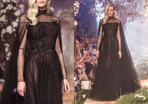 Paolo Sebastian 2018 Black High Neck Evening Gown Sheer Lace Long Sleeves Formal Dress With Wraps