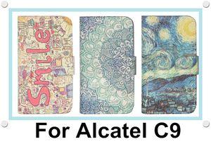 Para cobrir caso Alcatel One Touch Pop C9 móvel Carteira Flip Phone Couro Colorfull pintado OT7040D 7047 7047D