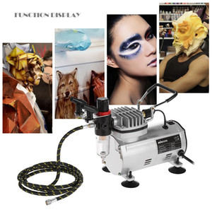 Freeshiping 3 Airbrush Kit With Air Compressor Dual-Action aerografo Hobby Spray Air Brush Set Tattoo Nail Art Paint Supply w Cleaning Brush