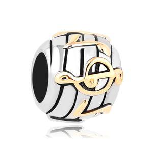 Gioielli MYD Grande buco Perlina metallica Note musicali Spacer Charms europei Adatto al braccialetto Pandora