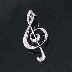 Оптовые прозрачные кристаллы Rhinestone Silver Plated Music High Notes Pin Brooch Модные ювелирные подарки Fashion Brooch