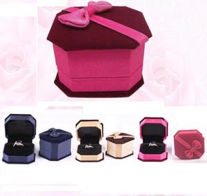 2015 Bow Velvet Gift Box haut de gamme bijoux bijoux cartouche boîte anneaux boîte bijoux boîte 5 couleurs pour les choix
