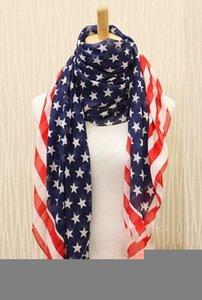 Top Moda Uomo / Donna bandiera americana Pentagram chiffon sciarpa sciarpe di modo