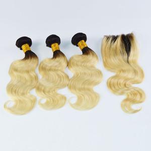Ombre El pelo humano de la Virgen Brasileña Rubia teje 1b 613 con el cierre superior 4pc de la trama del pelo + 1pc Cierre del cordón con los paquetes Onda del cuerpo