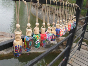 Freies Verschiffen 15ML Car Hang Dekoration Keramik Essenz Parfüm Flasche Hang Seil Anhänger leere Flasche, 200pcs / lot