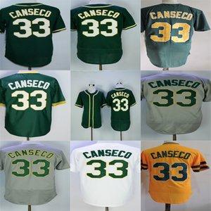 남성 여자 아이 유아 오클랜드 33 Jose Canseco Jersey 공장 콘센트 화이트 그린 그레이 옐로우베이스 플렉스베이스 스티치 야구 유니폼