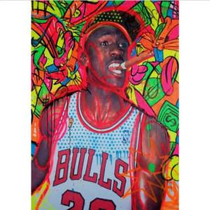 Encadré Pur Peint À La Main Abstraite Graffiti Portrait Art Peinture à l'huile, Haute Qualité Maison Mur Art Décor Sur Toile Multi Tailles T200