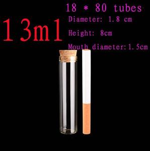 Capacidad 13 ml (18 * 80 mm) 50pcs / lot frasco de vidrio de ensayo botella de envases viales de muestra, botella de vidrio, botella, frasco de vidrio