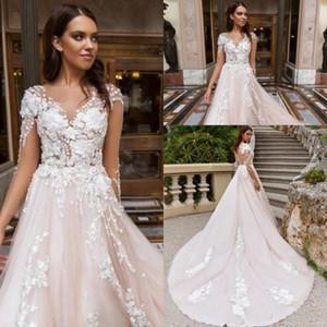 2020 neue romantische Blush Backless Brautkleider bloße Illusion Blick Vestidos 3D-Flora Appliqued langer Zug Brautkleider 352