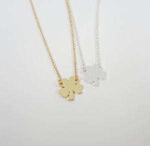 10PCS minúsculo Four Leaf Clover Lucky Clover colares simples do trevo colares Presentes Good Luck aniversário