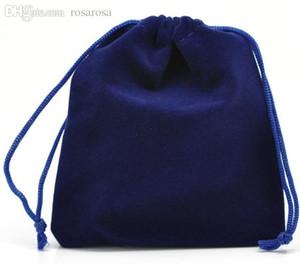 뜨거운 보석 가방 10 12 x 10cm 보석 포장 10 진한 파란색 Velveteen 주머니 쥬얼리 선물 가방 Drawstring