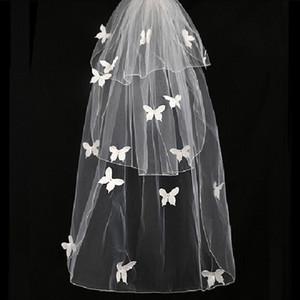 New Real Véus De Noiva com Blusher 3 Camadas Curto Véu De Noiva com Apliques de Borboleta Acessórios De Noiva Marfim Tule