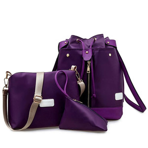 2016 nuevo Multifuncional tres mochila Tres piezas mochila diseñador bolsos enrejado patrón de la bolsa de lona con PU bolsa cuadrada