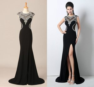 In-Stock 2018 Split Side Formal Evening Dresses Jewel Neck Sheath Zipper Back Black with Sexy Prom Dress ZAHY Real image New