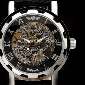 2019 new fashion skeleton winner famous design style hollow business leather classic men mechanical hand wind wrist army watch