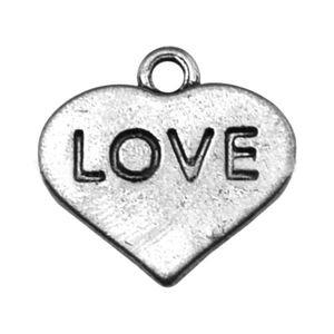 Moda Encantos Da Mensagem Da Forma Do Coração Amor Carimbado Encantos Para O Dia Dos Namorados 50 pcs 16 * 16mm Drop Shipping AAC781