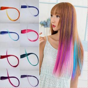 패션 여성 소녀는 여러 가지 빛깔의 긴 스트레이트 합성 클립 Ombre 헤어 확장 52cm에 화려한 헤어 클립 무료 배송