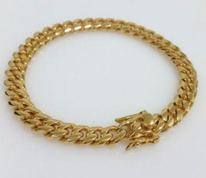 Men 18K Yellow Gold Stainless Steel 8mm Box Clasp Miami Cuban Link Bracelet