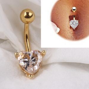 12 pcs Ouro 18K Coração Rhinestone Bow Dangle Umbigo Barriga Barriga Botão Anel Body Piercing perfurar