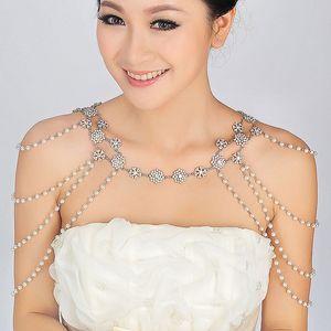 Cinta de la boda del hombro de la cadena nupcial Princesa Crystal Rhinestone Body Jewerly con cuentas de la boda accesorio collar conjunto de joyas